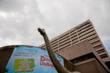 The 55' Apatosaurus looms above Columbus Boulevard in Hartford.